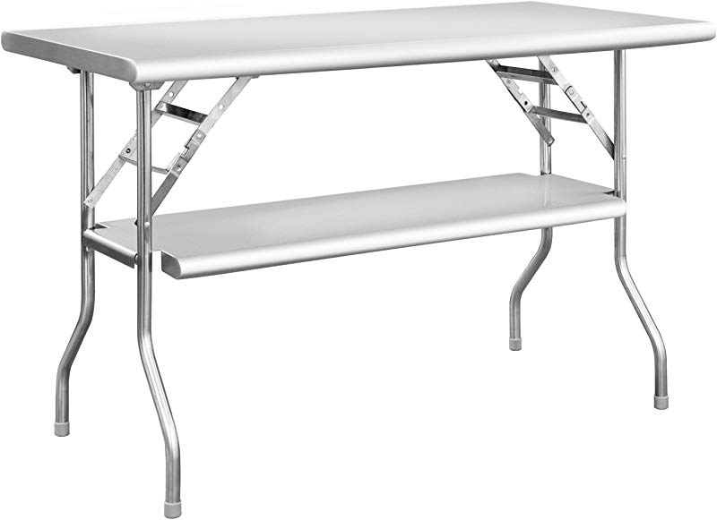 Royal Gourmet Commercial Stainless Steel Double Shelf Folding Work Table 48 L X 24 W