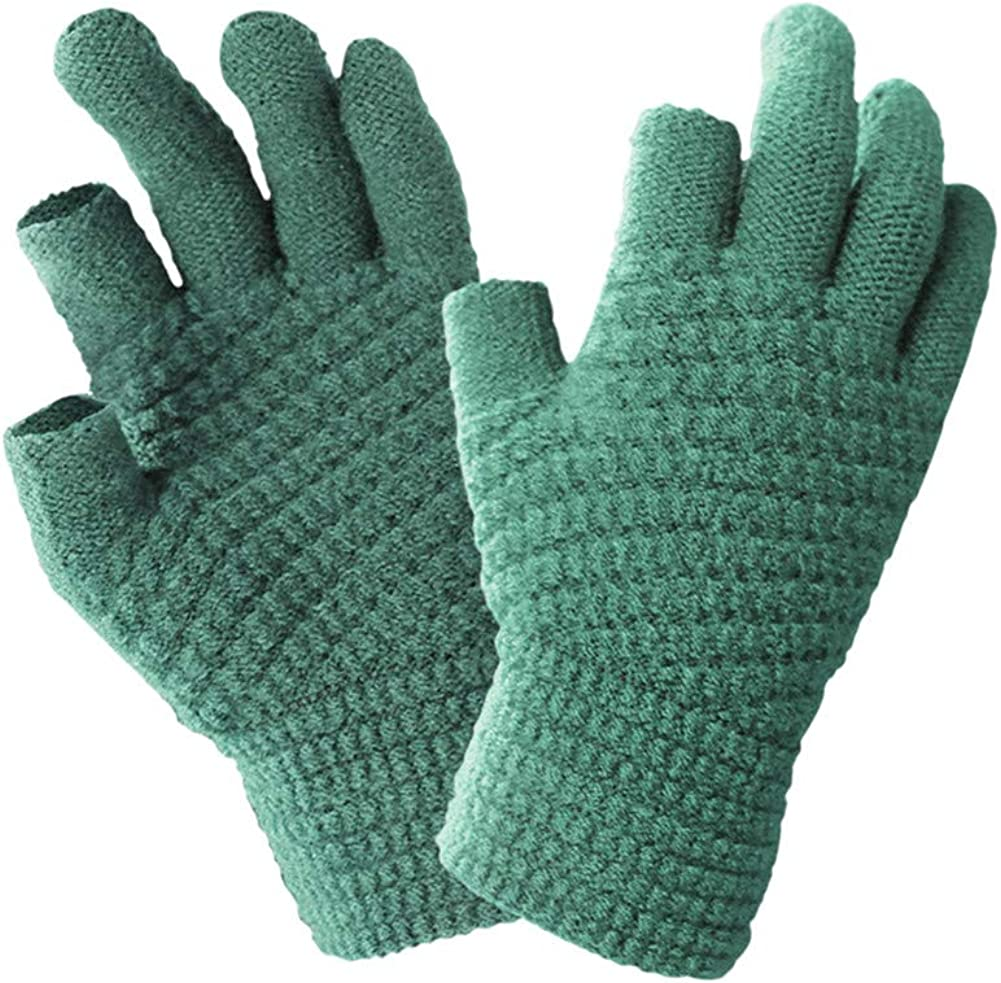 Winter Knit Gloves 2 Cut Fingers Touchscreen Warm Thermal Soft Lining Elastic Cuff Texting Writing Unisex Anti-Slip Gloves