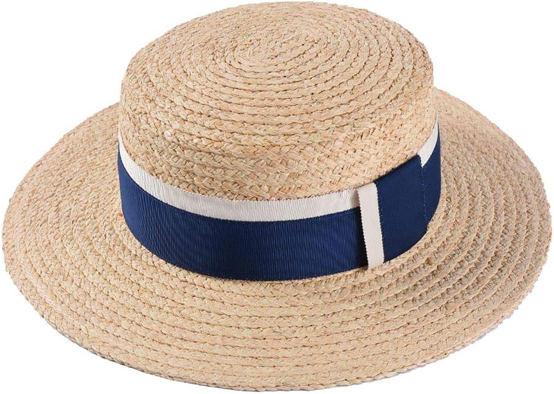 2019 Ladies Sun Hat Lafite Women's Men's Sun Hat Straw Hat Wide Side Panama Hat Beach Jazz Cap Size 5658 Cm Beach Sun Cap Fashion and Awesome (color   bluee, Size   5658cm)