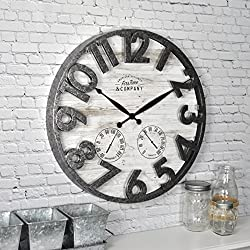FirsTime & Co. Shiplap Outdoor Wall Clock, 18, Light Gray