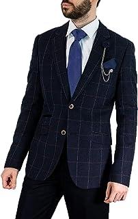 Cavani Men's Angels Slim Fit Tweed Check Jacket Blazer Navy