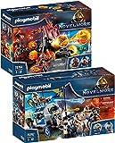 PLAYMOBIL Novelmore Set de 2 Juegos 70392 70394 Transporte del Tesoro + Catapulta de Lava