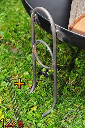 61F0+m0o2qL - BTV Outdoor Feuerschale + Zubehör - Premium-Feuerschale mit Design-Füßen, XL ca. 60 cm MIT Grillzubehör: 12x Grillspiesse Grillbesteck Grillspass Holzkohle