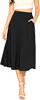 Verdusa Women's High Waist A Line Flared Skirt Midi Swing Skirt with Pocket