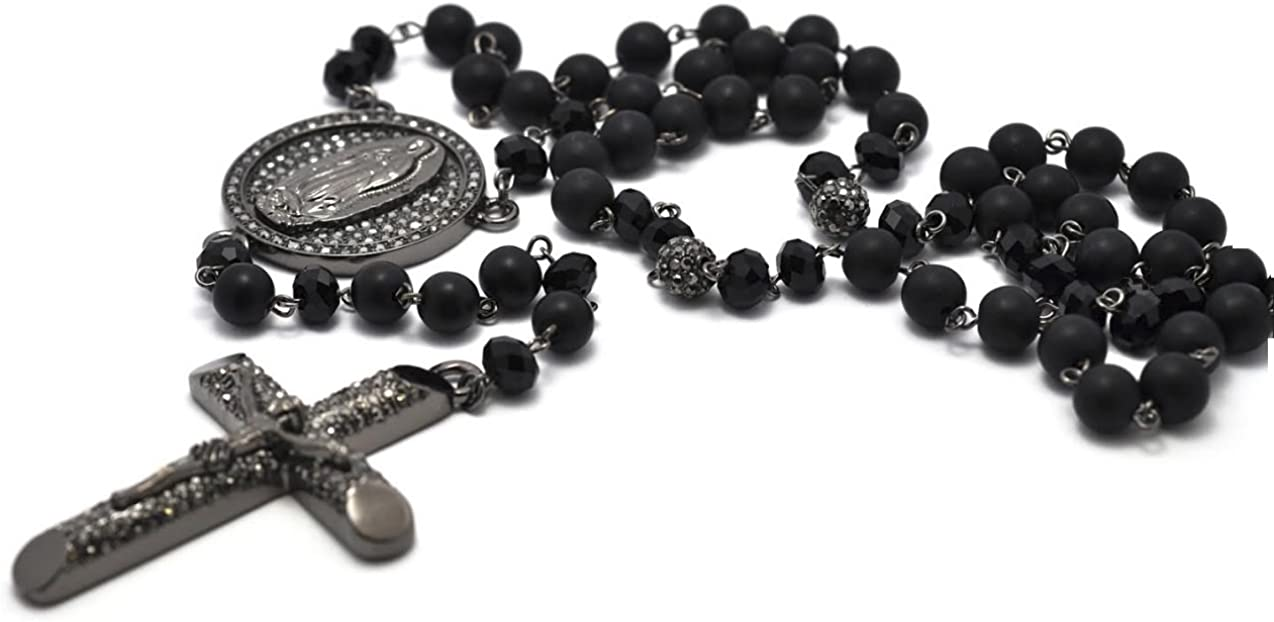 Black Rosary 8mm Beads Crystal Pave 55% OFF Neck Men Chain Colorado Springs Mall Hip Hop Cross