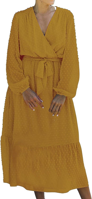 Long Sleeve Dress for Women, Sexy Criss Cross V Neck Lace Up Maxi Dress Trendy Polka Dot Print Long Skirt