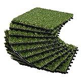 Outsunny Césped Artificial con Altura de Hierba 25mm Tipo Alfombra o Estera de Hierba Sintética de Exterior para Jardín y Terraza 25mm 10 Piezas