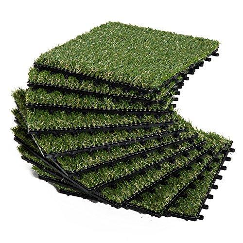 Outsunny Césped Artificial 30x30 cm 10 Piezas con Altura de Hierba 25mm Tipo Alfombra o Estera de Hierba Sintética de Exterior para Jardín y Terraza