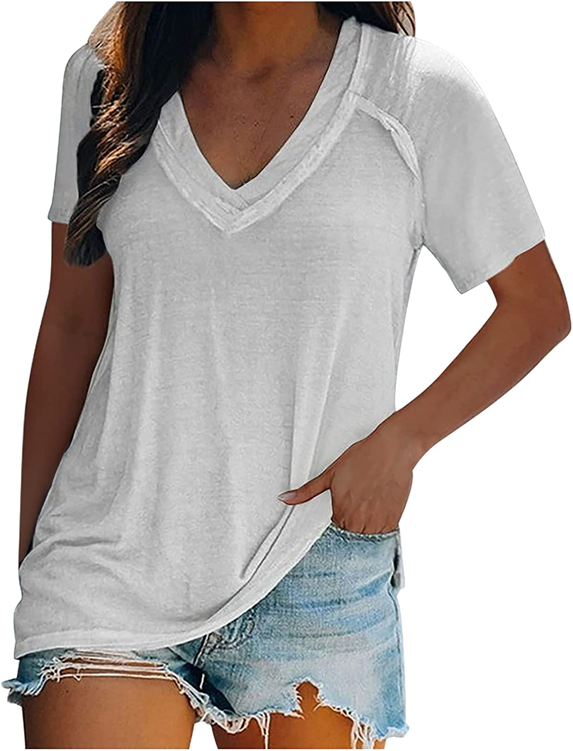 Plus Size Tops for Women Casual Summer Blouses Short Sleeve V Neck T Shirt Fashion Solid Color Tunic Tops Loose