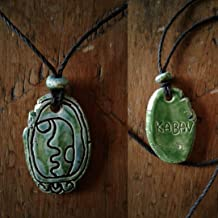 Mayan KABAN Necklace Mesoamerican Tzolk'in Day Sign Earthquake Glyph Ceramic Amulet Turquoise Green Pendant