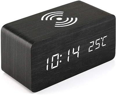 SODIAL Reloj Despertador De Madera con Almohadilla De Carga Inalámbrica Qi Compatible con para iPhone Samsung
