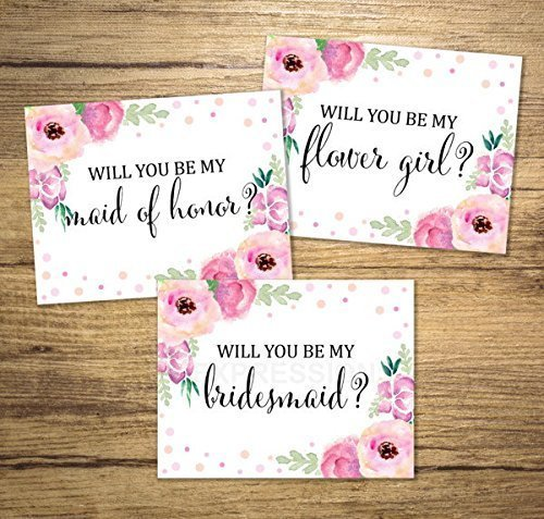 WILL YOU BE MY BRIDESMAID FLOWER GIRL MAID OF HONOR WEDDING INVITATION PRINT