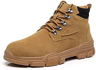 Men's Shoes-Classic Ankle Boots for Men Combat Boot Lace Up Suede Round Toe Platform Wear Resistant Contrast Collar Anti-Slip Rubber Sole (Color : Beige, Size : 39 EU)