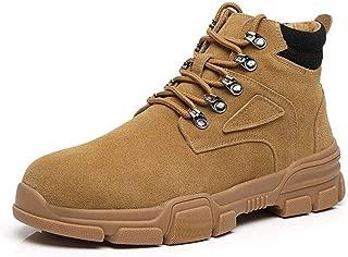 Men's Shoes-Classic Ankle Boots for Men Combat Boot Lace Up Suede Round Toe Platform Wear Resistant Contrast Collar Anti-Slip Rubber Sole (Color : Beige, Size : 42 EU)