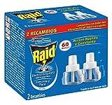 Raid Eléctrico Líquido Antimosquitos - 2 Recambios para 60 Noches compatibles con todos los Difusores Raid, Acción Rápida y Constante contra Mosquitos Comunes y Tigre