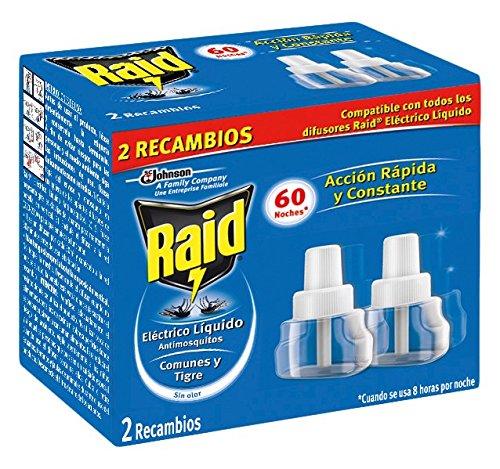 Raid Eléctrico Líquido Antimosquitos - 2 Recambios para 60 Noches compatibles con todos los Difusores Raid  Acción Rápida y Constante contra Mosquitos Comunes y Tigre
