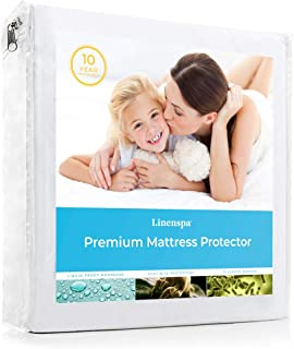 Linenspa Premium Smooth Fabric Mattress Protector-100% Waterproof-Hypoallergenic- Vinyl Free Protector, Queen, White