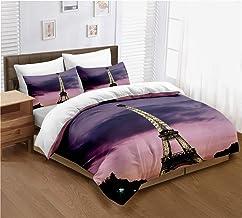 ayigu Bedding Set Full Size Paris Eiffel Tower and Beautiful Sky Print Famous City Scene Comforter Cover Decorative Microf...