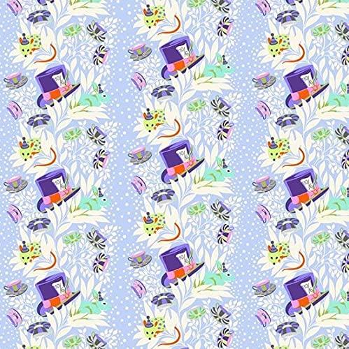 Crioser Alice Fabrics - Sombrero loco lila - Curioser por Tula Pink - FS417 - desde 0,5 m - - por Freespirit - 100% algodón (loco Hatter Lilac FS417)