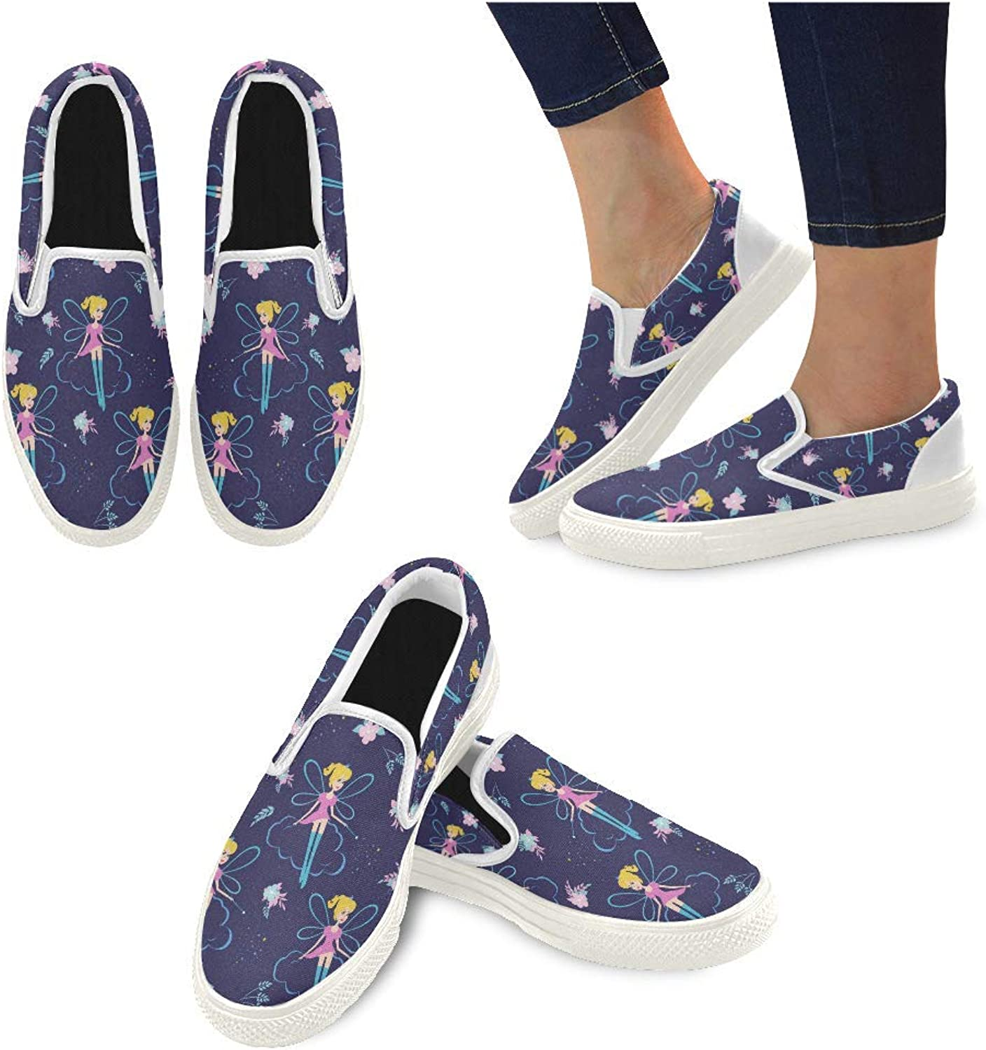 InterestPrint Women's Casual Canvas Slip-on Flat shoes Aircraft Comfortable Loafers Outdoor