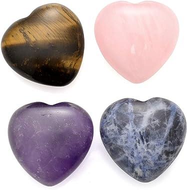 Sunligoo Healing Crystal Heart Love Worry Stones Set Pocket Palm Thumb Gemstones Chakra Reiki Balancing -1 inches, 4Pcs