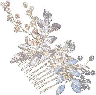 Amosfun Peine del pelo Flor Guirnalda del pelo Cristales Tocado Nupcial Diadema Accesorios nupciales para el banquete de b...