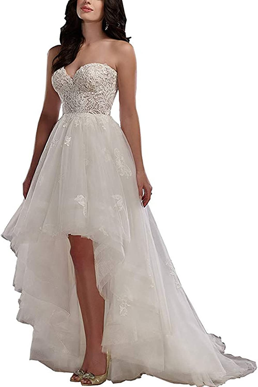 Ri Yun Women's Sweetheart Tulle High Low Wedding Dresses Bridal Gowns with Lace Appliques 2018