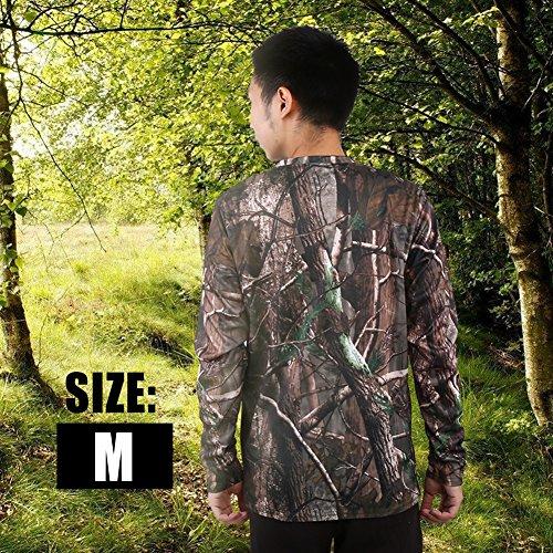 Zerone Camisetas de Camuflaje de Manga Larga y Corta de algodón Características Camisa de Manga Larga de Camuflaje Woodland Camisa para Acampar Deportes al Aire Libre(M)
