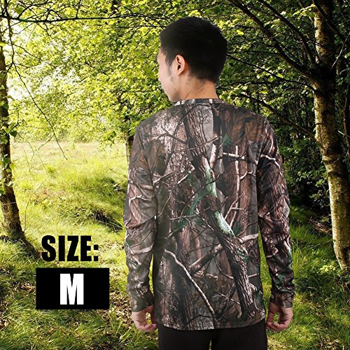 Zerone T-shirt met lange mouwen van katoen en korte mouwen eigenschappen Woodland Camo Long Sleeve Crew T-shirt Camping Outdoor Sports