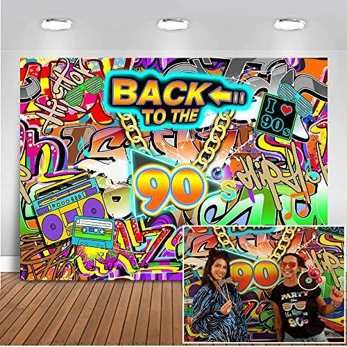 Mehofoto Retour Aux Années 90 Toile de Fond 7x5ft 90's Hip Hop Party Photo Décors Graffiti Mur Photographie Fond