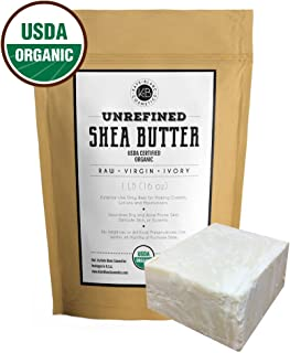 Raw Shea Butter for Face, Hair and Dry Skin (1 LB) by Kate Blanc. USDA Certified Organic, Unrefined, Fair Trade. Great for Stretch Marks, Beard, Soap Making, Body Butter, Lip Balm, Lotion, Conditioner