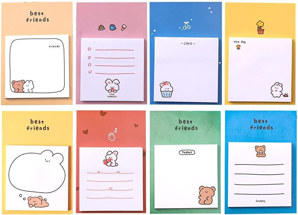 DzdzCrafts Rabbit and Bear 8-Packs Max Reservation 82% OFF Notes Sheets 240 Sticky Notep