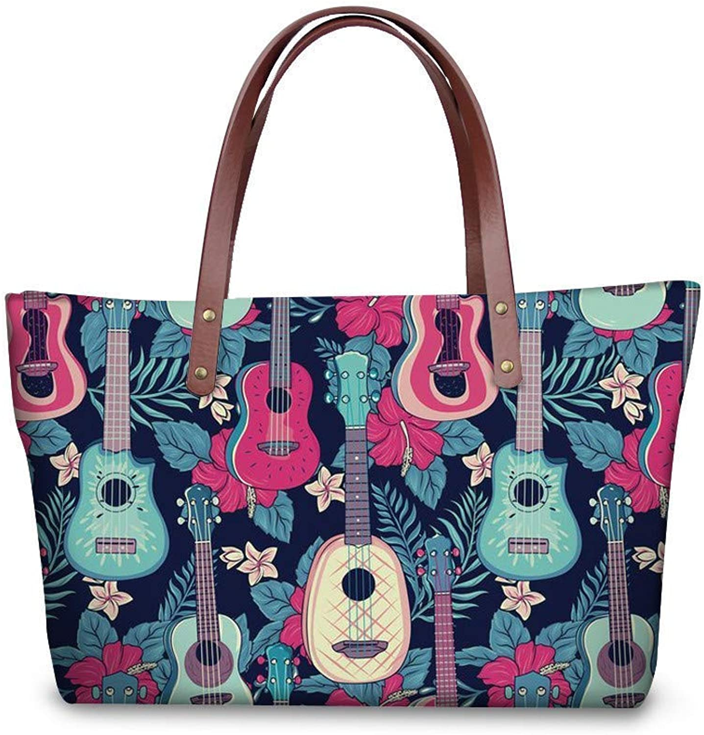 Bloomerang FORUDESIGNS DJ Guitar Women Handbag Rainbow Music Notes Print Ladies Large Shoulder Bags Beach Bag Shopping Girls Casual Totes color T1220AL 49x29x39x11cm
