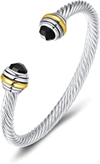 Bracelet Designer Brand Inspired Antique Women Jewelry CZ Cable Wire Bangle Christmas day Gifts (Black)