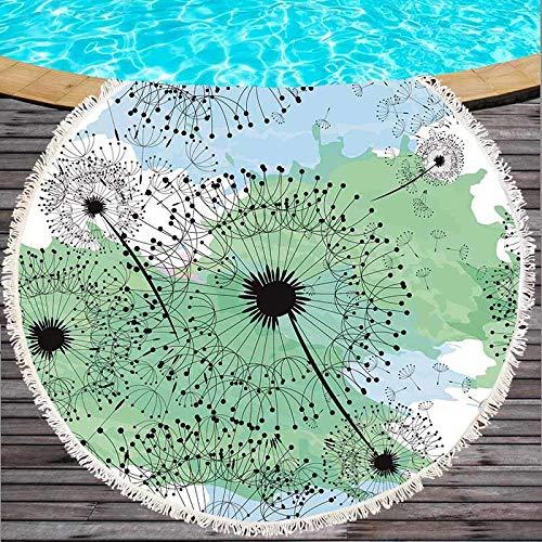 Binglin Flores Mariposa Ronda Toalla de Playa Algodón Poliéster Toalla de baño Estera de Yoga Manta Tapicería Dia 150cm con Borla-Rojo, 150x150cm
