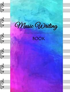 Music Writing Book: Grand Staff Blackline Master, Music Manuscript Paper Notebooks, Songwriters and Musicians, Lyric Diary and Manuscript Paper 8.5
