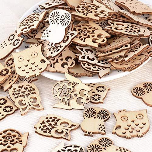 JNCH 100 STK kleine Holz Anhänger Scrapbook Geschenk Dekohänger DIY Deko Handwerk Basteln für Bonboniere Gastgeschenk Box Geschenkbox Weihnachten Adventskalender Beutel Säckchen (Eule Muster)