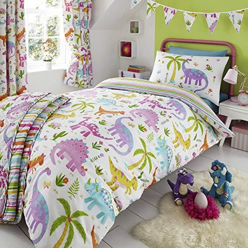 Happy Linen Company Kids Girls Dinosaur Park Jurassic Pink T-Rex Dino White Reversible Single Bedding Duvet Cover Set