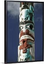 Alberta, Jasper National Park, Jasper, Native Canadian Totem Pole Black Floating Frame Canvas A.