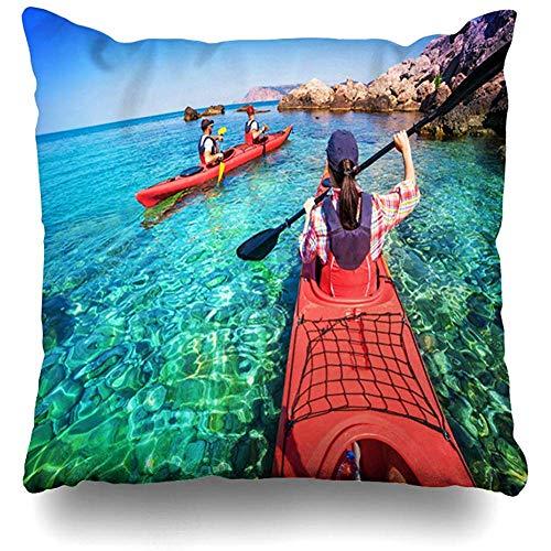 SSHELEY kussensloop op avontuur twee peddels kajak zeekajak Caribisch eiland reissport recreatie actief