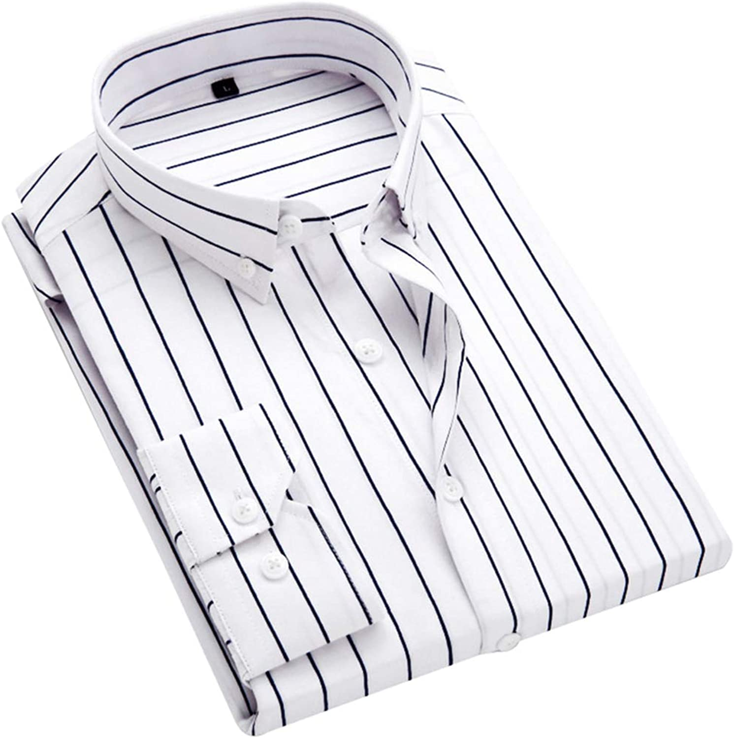 ERZTIAY Men's Classic Casual greenical Striped Slim Fit Long Sleeve Dress Shirts