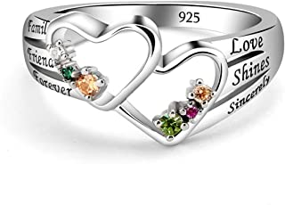 Quiges 925 Sterling Silver Mothers Birthstone Custom Personalized Engraved Name Double Heart Ring