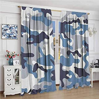 Camouflage Blackout Curtain Illustration with Abstract Soft Colors Pattern Camouflage Design 2 Panel Sets W108 x L108 Inch Slate Blue Indigo Grey