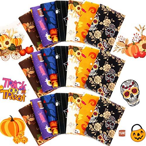 21 Telas de Algodón de Halloween 10 x 10 Pulgadas Cuadrados de Patchwork Acolchado Estampado de Calavera Flor Paquete Artesanal Tela Acolchada de Costura Tela de Patrón Mixto para Manualidades