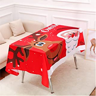 """DotPet Christmas Tablecloth, Rectangle Christmas Table Cloth Santa Claus Snowman Elk Pattern able Cover Dinning Kitchen Party Holiday Decoration (55""""76.7 """")"""
