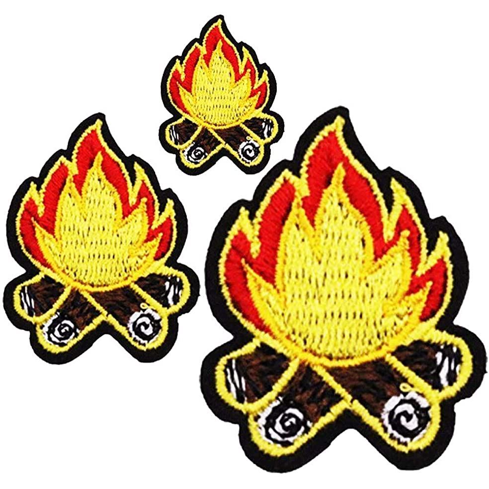 U-Sky Sew or Iron on Patches - Camping Fire Patch for Clothing - 3pcs Different Size Pack - 1.5x1.6inch, 1.61x2.24inch, 2.32x2.99inch