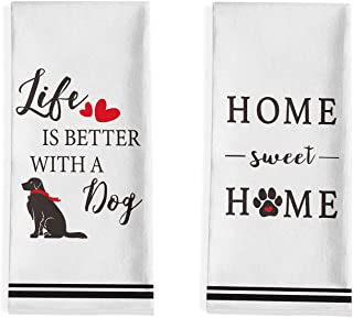 Tea Towel in mauve and lilac stripes Home Sweet Home /& love makes our house a home 2 pk