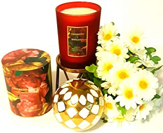 Simply Indulgent Luxury Fragranced Soy Candle Single Wick Cranberry and Mandarin, Pack of One Red Jar