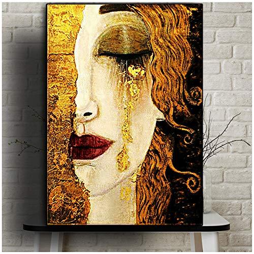 HYFBH Peinture sur Toile Classique Artiste Gustav Klimt Larme Abstrait Affiches et Impressions Art Mur Photos pour Salon Cuadros 20x28 Pouces (50x70 cm) sans...
