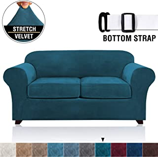 Velvet Stretch 3 Piece Loveseat Covers for 2 Cushion Couch Loveseat Slipcovers (Base Cover and 2 Individual Seat Cushion Covers) Thick Sofa Covers with Two Elastic Straps (Loveseat, Deep Teal)